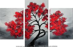 Abstract Painting Modern Painting Landscape Painting Original Painting Asian Tree Painting Art Painting by Gabriela black, white red Acrylic Landscape, Landscape Paintings, Tree Paintings, Abstract Tree Painting, Painting & Drawing, Knife Painting, Artwork Online, Tree Art, Painting Inspiration