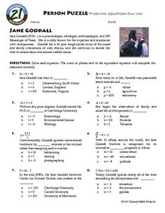 Person Puzzle: Algebra - Equations Two-Step - Jane Goodall