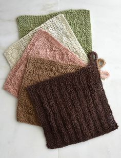 Free Pattern Friday - Easy to knit Stitch Sampler Cloths in 100% hemp Fibra Natura Java