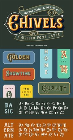 Chivels - Chiseled Vintage 3D Type Vintage Fonts, Vintage Typography, Graphics Vintage, Vector Graphics, Best Resume Template, Brochure Template, Chicano Lettering, Hand Lettering, 3d Type