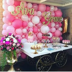 Pretty pink baby shower or birthday party desert table