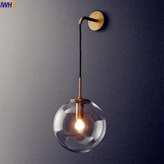 Nordic Modern LED Wall Lamp Glass Ball Bathroom Mirror Beside American Retro Wall Light Sconce Wandlamp Aplique Murale Wall Lights Retro, Glass Lamp, Sconce Light Fixtures, Lamp Light, Brass Wall Lamp, Lights, French Lighting, Wall Sconce Lighting, Light