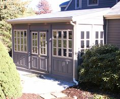Vixen Hill Modular Screened Porch System can be installed in a single day. Use our online software to design a new porch or retrofit an existing one. Garden Structures, Outdoor Structures, Enclosed Porches, Wooden Shutters, Gazebo, Garage Doors, Shed, Building Products, Exterior