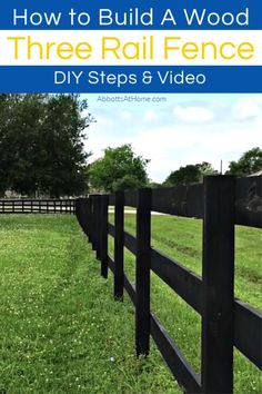 Here's how to set wooden fence posts in concrete - with written steps and a quick video to show you how to build or DIY your own Three Rail Fence or other horizontal fence ideas. Outdoor Spaces, Outdoor Living, Post And Rail Fence, Wooden Fence Posts, Rustic Outdoor Decor, Third Rail, Outdoor Furniture Plans, Fence Styles, Fence Landscaping