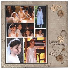 -First Communion (christening party decorations color schemes) School Scrapbook Layouts, Scrapbook Titles, Kids Scrapbook, Scrapbooking Layouts, Digital Scrapbooking, Christening Party Decorations, Jesus Book, Baby Christening, First Holy Communion