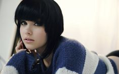 People 1920x1200 black hair blue eyes sweater Melissa Clarke model women looking at viewer