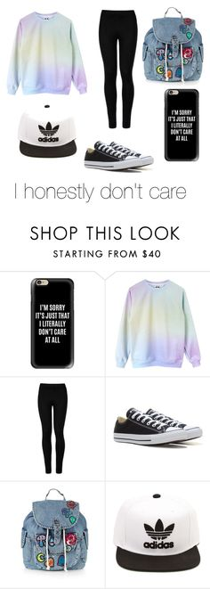 """""""I honestly don't care."""" by anna-mccausland ❤ liked on Polyvore featuring Casetify, Wolford, Converse, Topshop and adidas"""