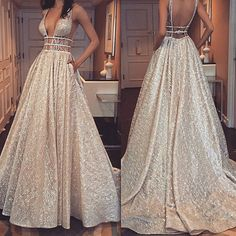 long backless champagne prom dress with sequins Pretty Prom Dresses, Grad Dresses, Cheap Prom Dresses, Dance Dresses, Bridal Dresses, Beautiful Dresses, Evening Dresses, Bridesmaid Dresses, Cute Dresses