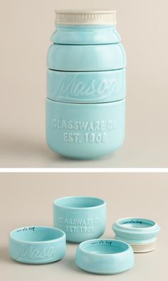 The stylish Mason Jar Measuring Cups feature a design inspired by vintage canning jars. Use each layer of the jar to measure liquids or solids; after cleaning, stack the durable ceramic cups into an aqua blue mason jar for a … Continue reading → Mason Jar Measuring Cups, Mason Jars, Canning Jars, Measuring Spoons, Cool Ideas, Organizer, Kitchen Gadgets, Kitchen Stuff, Kitchen Tools
