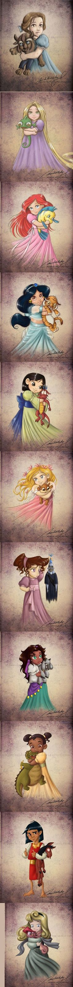 Little Disney Princesses and Their Pets