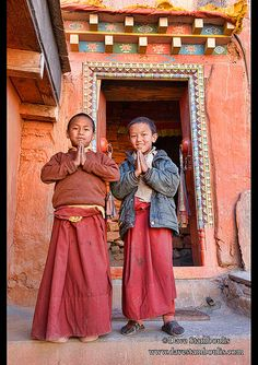 Young Tibetan monks in Kagbeni village in the Kingdom of Mustang in the Annapurna region of Nepal