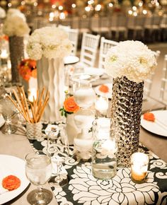 Orange, White and Silver Centerpieces // Featured: The Knot // Photographed: Docuvitae