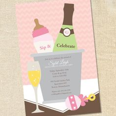 Sweet Wishes Pink Sip and Celebrate Baby Shower Invitations - PRINTED - Digital File Also Available on Etsy, $17.90