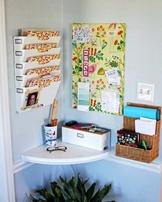 Creative Small Home Office Ideas: Organized Drop Zone: Make the most out of a corner of her breakfast room to allow a place for a family drop zone. I'm a big advocate of planning for clutter, and this creative spot is perfect for tucking away bills and the kids' school paperwork.