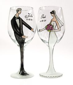 Personalized Bride or Groom Wedding Wine Glass by Gail Corso: Make their special day that much more romantic with these personalized, handpainted wine glasses by Gail Corso, creator of the Derby. Bridal Wine Glasses, Wedding Glasses, Champagne Glasses, Decorated Wine Glasses, Hand Painted Wine Glasses, Personalized Wine Glasses, Wedding Illustration, Bottle Art, Wedding Blog