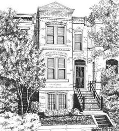 House Portraits, Custom Ink Drawing or Watercolor Painting by Suzanne Churchill on Etsy, Gift Certificates are Available