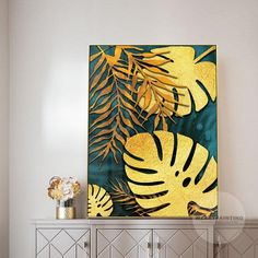 Framed Wall Art Modern Gold Turtle Leaf Print Painting on Canvas Large Wall Art Pictures .,Framed Wall Art Modern Gold Turtle Leaf Print Paintings on Canvas Large Wall Art Pictures Paintings Wall Art Pictures Cuadros Abstractos Frames are de.