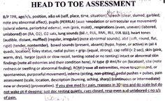 head to toe assessment documentation… Nursing Tips, Nursing Care, Nursing Cheat Sheet, Charting For Nurses, Nursing Assessment, Nursing Procedures, Lpn Schools, Nursing Information, Fundamentals Of Nursing