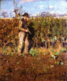The Hedgecutter by George Henry. George Henry (1858–1943) was a Scottish painter, one of the most prominent of the Glasgow School.