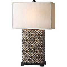 @Overstock - Go for a classic vibe with this bronze stained table lamp. Perfect to bring a touch of elegance to your bedroom or guest room, its bold, eye-catching design and classic rectangular shade would transform any room from a bedroom to a living room. http://www.overstock.com/Home-Garden/Curino-Table-Lamp/6479517/product.html?CID=214117 $184.80