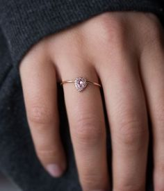 Rose Gold Pink Sapphire Pear Ring - Audry Rose
