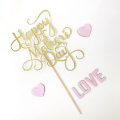 Happy Mother's Day Cake Topper - Gold, Pink, Silver, Lavender