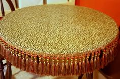 Decoupage a table with fabric