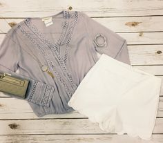 Pastels are perfect for Easter, a sunny spring day, or to just brighten up your work wardrobe! #pastel #spring Light Lilac Crochet Top $39 High Waisted Scalloped White Shorts $49