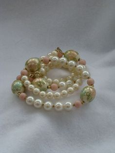 Vintage  simulated ivory pearls and cloisonne by DevineCollectible, $35.00
