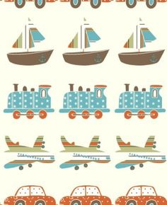 A horizontal chain of planes, trains, cars and boats, ideal for any boys bedroom. Shown in teal, orange and brown. Please request a sample for true colour match.