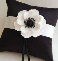 Couture Clay - Made to Order Satin Ring Pillow with Clay Anemone Flower Sewing Pillows, Diy Pillows, Sofa Pillows, Custom Pillows, Decorative Pillows, Throw Pillows, Cushions, Pillow Crafts, Fabric Crafts
