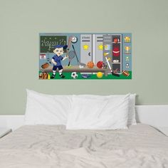 Mona Melisa Designs Sports Boy Hanging Wall Mural Skin Shade: Medium, Eye color: Brown, Hair color: Brown, Uniform Color: Red
