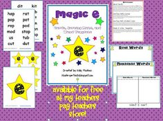 "Magic E Activities that are Free to download-includes word cards, sorting mats and templates to make teacher and student sized ""Magic E Wands""!"