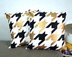 """set of two-Houndstooth Pillow Cover-black and gold printed in white cotton-16""""(40CM) $62"""