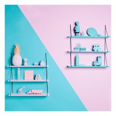 For the best range of designer shelves & bookcases, visit Smallable: House Doctor, Ferm Living, Normann Copenhagen… Over 800 brands. Pink Wall Shelf, Blue Shelves, Wood Shelves, Small Furniture, Colorful Furniture, Bookshelves Kids, Pink Walls, House Doctor, Kid Spaces