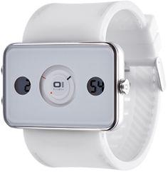 RELOJ THE ONE IPHONE, TURNING DISC, ANALOGICO Y DIGITAL, RELOJES UNISEX, CORREA CAUCHO BLANCA. http://www.tutunca.es/reloj-iphone-the-one-blanco