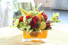 Summer Citrus Centerpiece w/ Orchids & Roses by Aria Style / www.ariastyle.com / https://www.facebook.com/AriaStyle