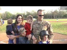 Soldier Surprises Kids at Little League Game