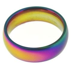 Gay Pride Stainless Steel Engravable 6mm Anodized Ring