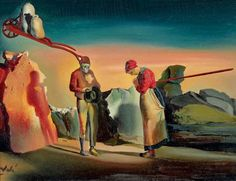 """Salvador Dalí, 'Les atavismes du crépuscule (Phénomène obsessif). D'après """"L'Angélus"""" de Millet,' ca. 1933, Kunstmuseum Bern"""
