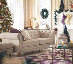 Chesterfield sofa and footstool in fabric covering, Christmas roomset