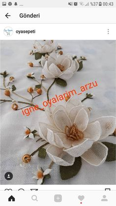 Bahriye Öztürk's media statistics and analytics Flower Crafts, Diy Flowers, Crochet Flowers, Embroidery Needles, Hand Embroidery, Needle Lace, Bird Drawings, Flower Tutorial, Needlepoint