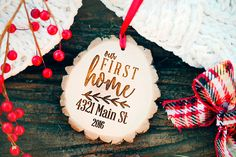 Our First Home Ornament, Rustic Our First Home Ornament, First Christmas in our New Home Ornament, Our First House Ornament, Housewarming by WeddingBannerLove on Etsy https://www.etsy.com/listing/468953804/our-first-home-ornament-rustic-our-first