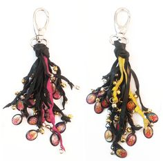STRINGY GRIGRIS  Key ring / Dangler 2015 - Leather strands, silver and gold mini bells, indian gods medallions