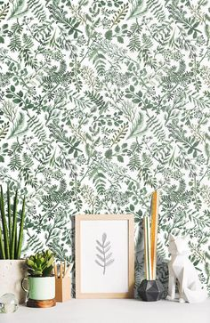 Wallpaper Botanical Plant Green Herbs Leaves on White Background Watercolor - Removable Wallpaper Bo View Wallpaper, Traditional Wallpaper, Habitat Wallpaper, Farmhouse Decor, Wallpaper, Smooth Walls, White Background, Bathroom Plants, Home Wallpaper