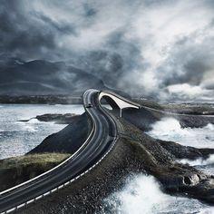 Photo by Patrick Curtet. @patrickcurtet #atlanticroad #lofoten #norway #norway #north #storseisundbrua #storseisundet #bridge #northatlantic #nature #landscape #atlanterhavsveien #car #coldweather #storm #fjord #clouds #mountains #photography #professional #photographybusiness #illgrammers #agameoftones #visualsoflife #photomafia #liveauthentic #severinwendeler #patrickcurtet