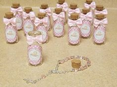 Items similar to 12 Baptism favors, mini rosaries favors, Bottle with cork favors- baptism boy - baptism girlwhite, pink. blue favors on Etsy First Communion Favors, Baptism Favors, Baptism Party, Baptism Ideas, Wedding Shower Gifts, Wedding Gifts, Baptism Pictures, Baptism Decorations, Baby Girl Baptism