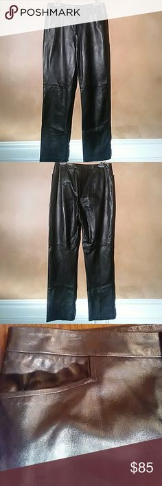 Black Leather Pants by Ellen Tracy Very soft black leather pant by Ellen Tracy Size 10 Condition - new without tags Ellen Tracy Pants Boot Cut & Flare