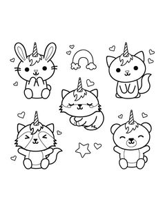 Home Decorating Style 2020 for Coloriage Kawaii Licorne, you can see Coloriage Kawaii Licorne and more pictures for Home Interior Designing 2020 at Coloriage Kids. Candy Coloring Pages, Cute Coloring Pages, Doodle Coloring, Printable Coloring Pages, Adult Coloring, Griffonnages Kawaii, Chat Kawaii, Cute Doodle Art, Cute Doodles
