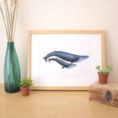 A4 Zwei blauen Wale Kunstdruck/Poster  Zwei von NathalieOuederni